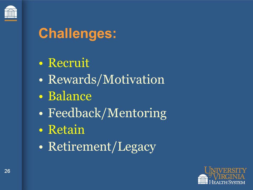 26 Challenges: Recruit Rewards/Motivation Balance Feedback/Mentoring Retain Retirement/Legacy