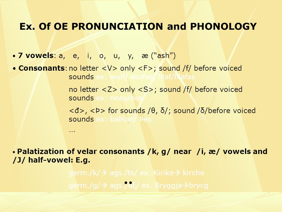 Ex. Of OE PRONUNCIATION and PHONOLOGY 7 vowels: a, e, i, o, u, y, æ (ash) Consonants:no letter only ; sound /f/ before voiced sounds ex: wulf/ wulfas,