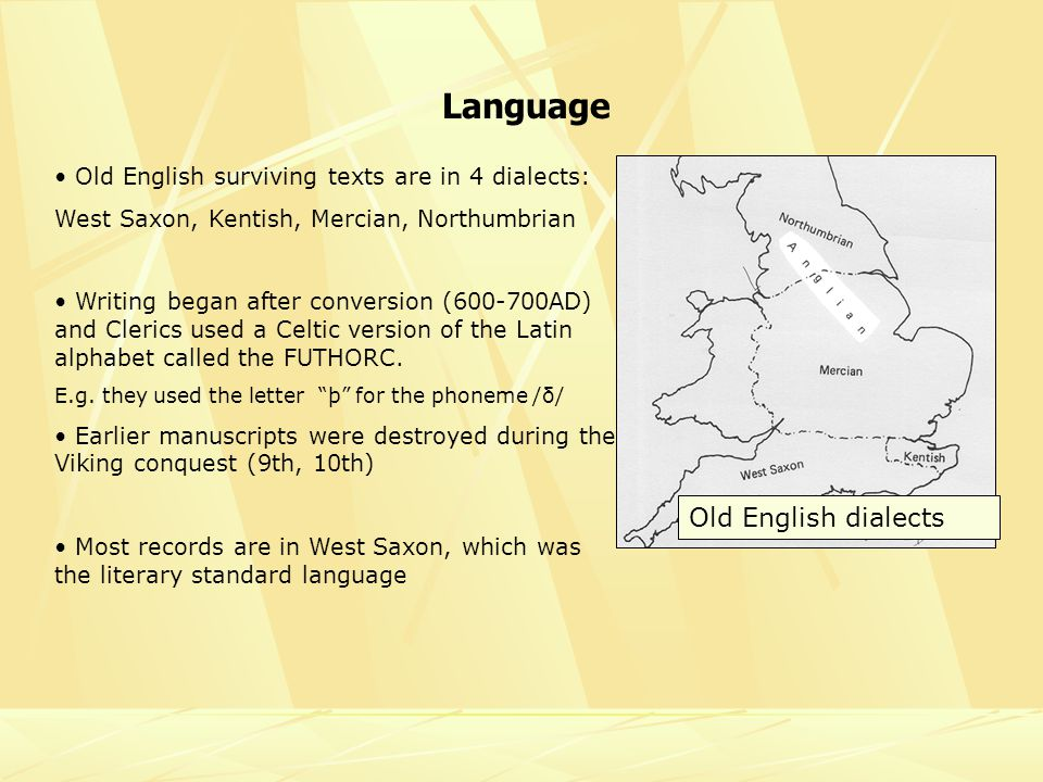 Language Old English surviving texts are in 4 dialects: West Saxon, Kentish, Mercian, Northumbrian Writing began after conversion ( AD) and Clerics used a Celtic version of the Latin alphabet called the FUTHORC.