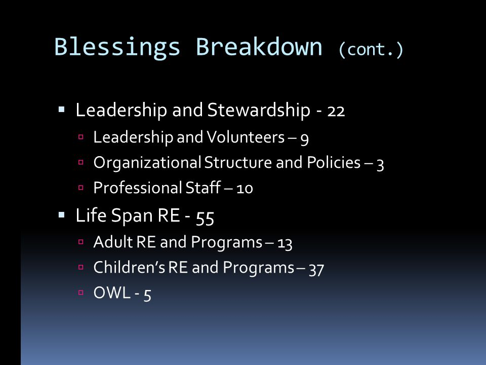 Blessings Breakdown (cont.) Leadership and Stewardship - 22 Leadership and Volunteers – 9 Organizational Structure and Policies – 3 Professional Staff – 10 Life Span RE - 55 Adult RE and Programs – 13 Childrens RE and Programs – 37 OWL - 5