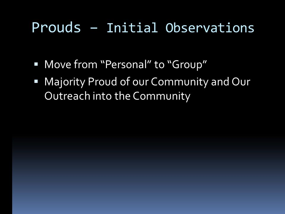 Prouds – Initial Observations Move from Personal to Group Majority Proud of our Community and Our Outreach into the Community