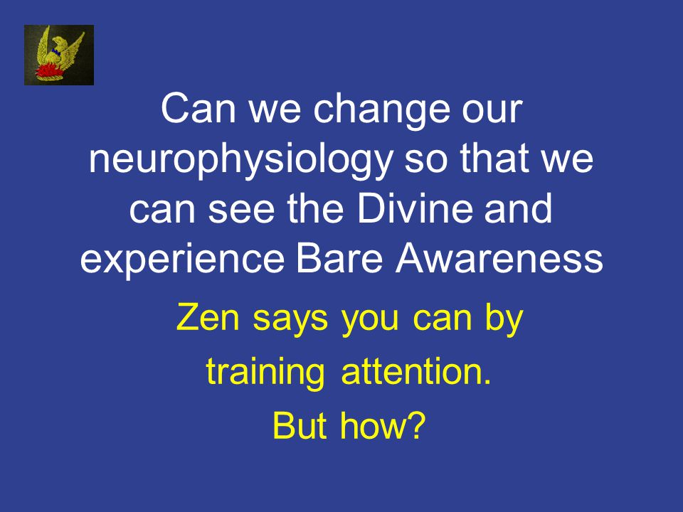 Can we change our neurophysiology so that we can see the Divine and experience Bare Awareness Zen says you can by training attention.