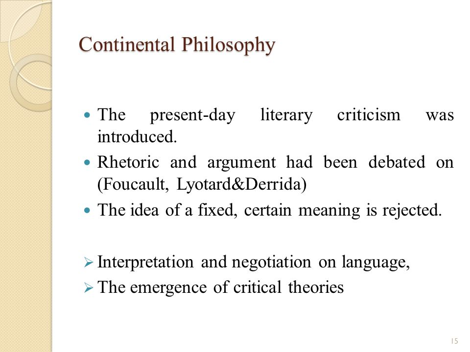 Continental Philosophy The present-day literary criticism was introduced.
