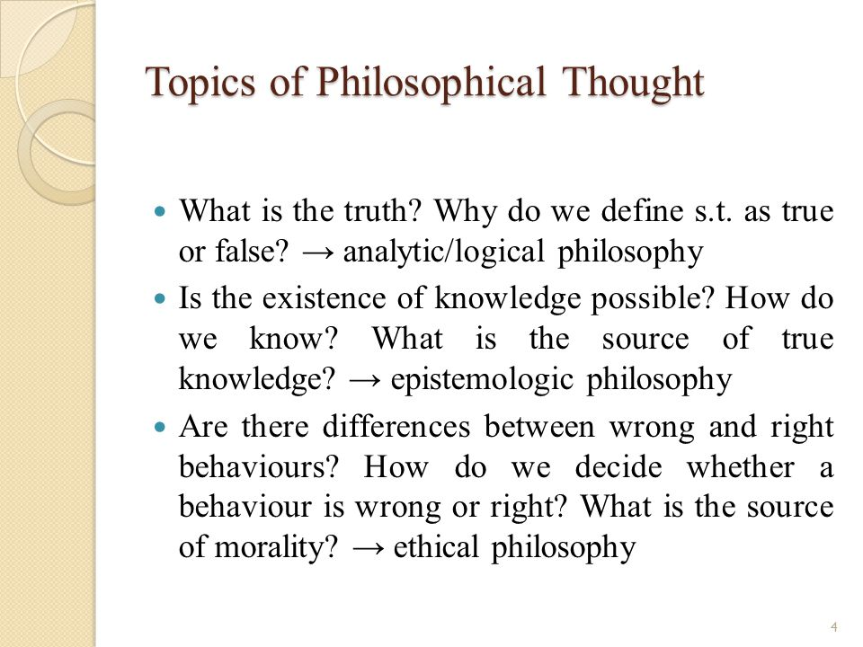 Topics of Philosophical Thought What is the truth.