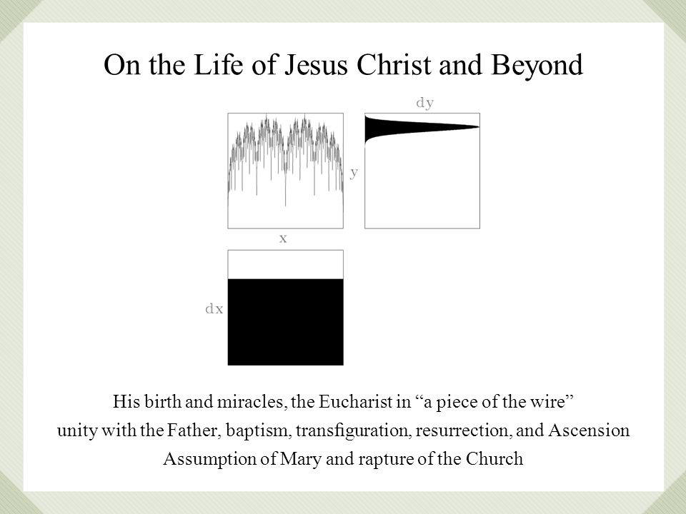 On the Life of Jesus Christ and Beyond His birth and miracles, the Eucharist in a piece of the wire unity with the Father, baptism, transguration, resurrection, and Ascension Assumption of Mary and rapture of the Church