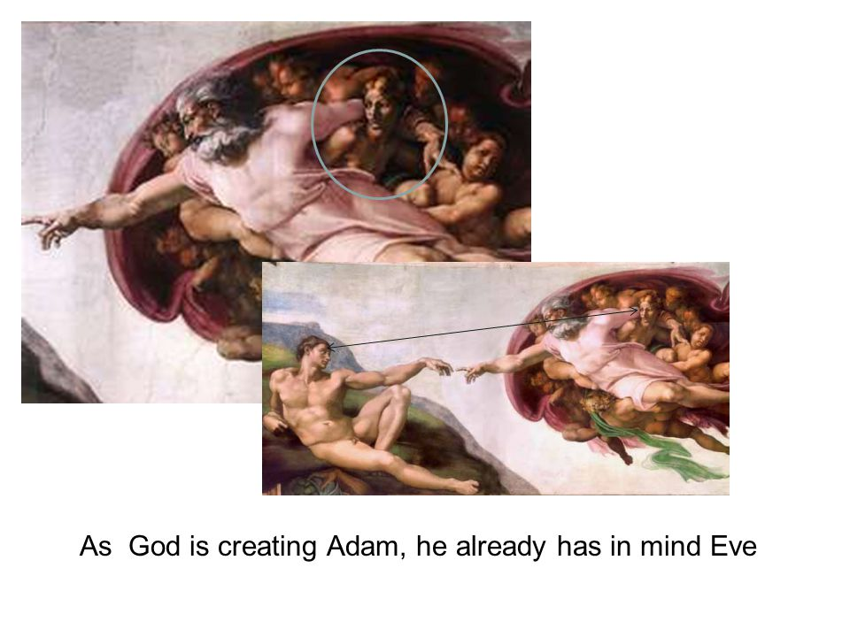 As God is creating Adam, he already has in mind Eve