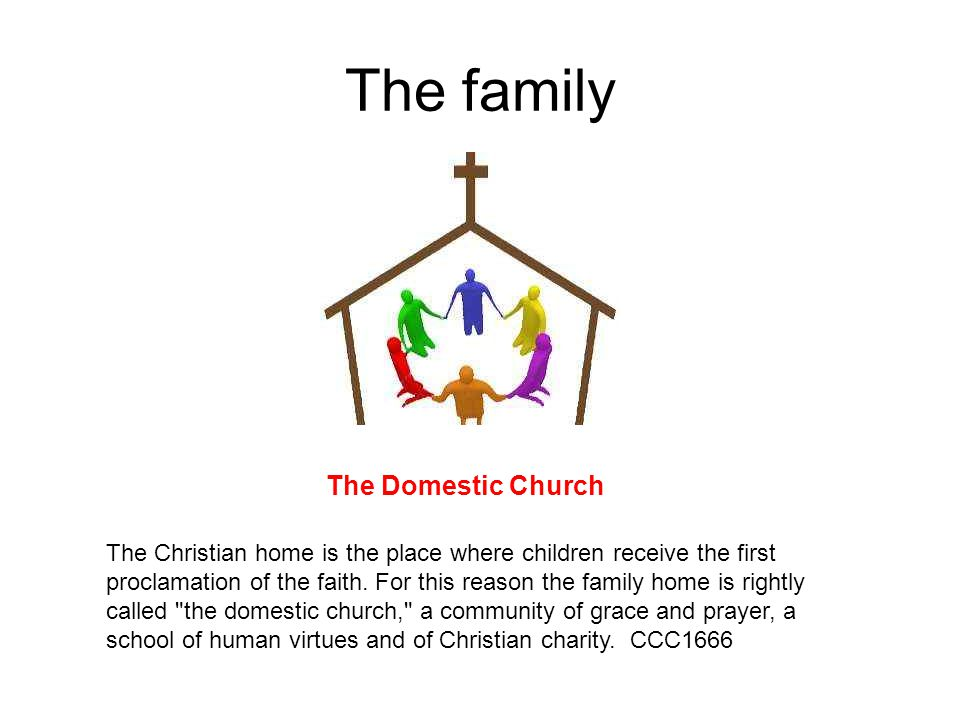 The family The Domestic Church The Christian home is the place where children receive the first proclamation of the faith.