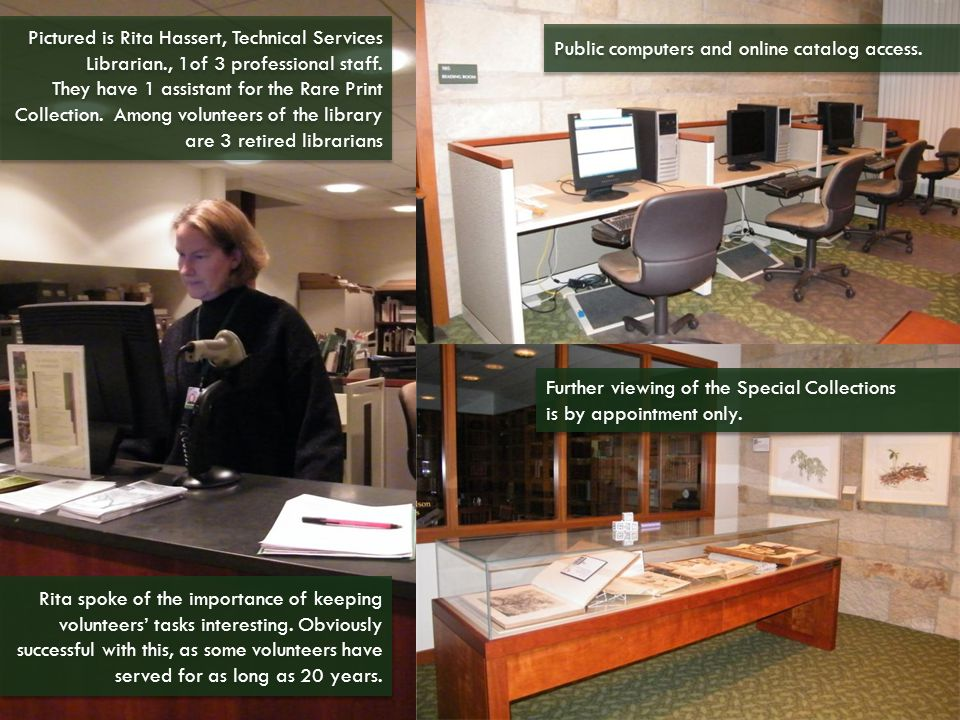 Pictured is Rita Hassert, Technical Services Librarian., 1of 3 professional staff.
