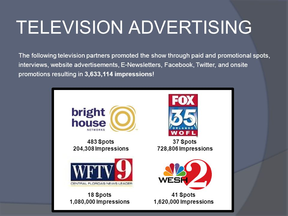 TELEVISION ADVERTISING The following television partners promoted the show through paid and promotional spots, interviews, website advertisements, E-Newsletters, Facebook, Twitter, and onsite promotions resulting in 3,633,114 impressions.