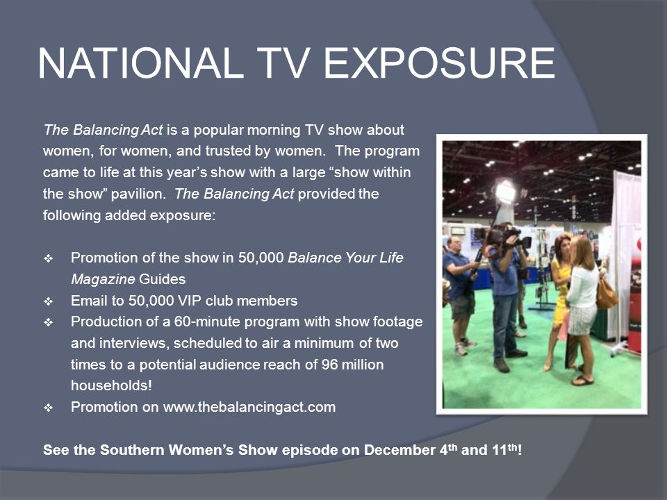 NATIONAL TV EXPOSURE The Balancing Act is a popular morning TV show about women, for women, and trusted by women.