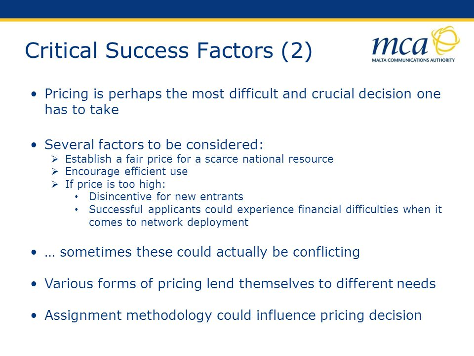 Critical Success Factors (2) Pricing is perhaps the most difficult and crucial decision one has to take Several factors to be considered: Establish a