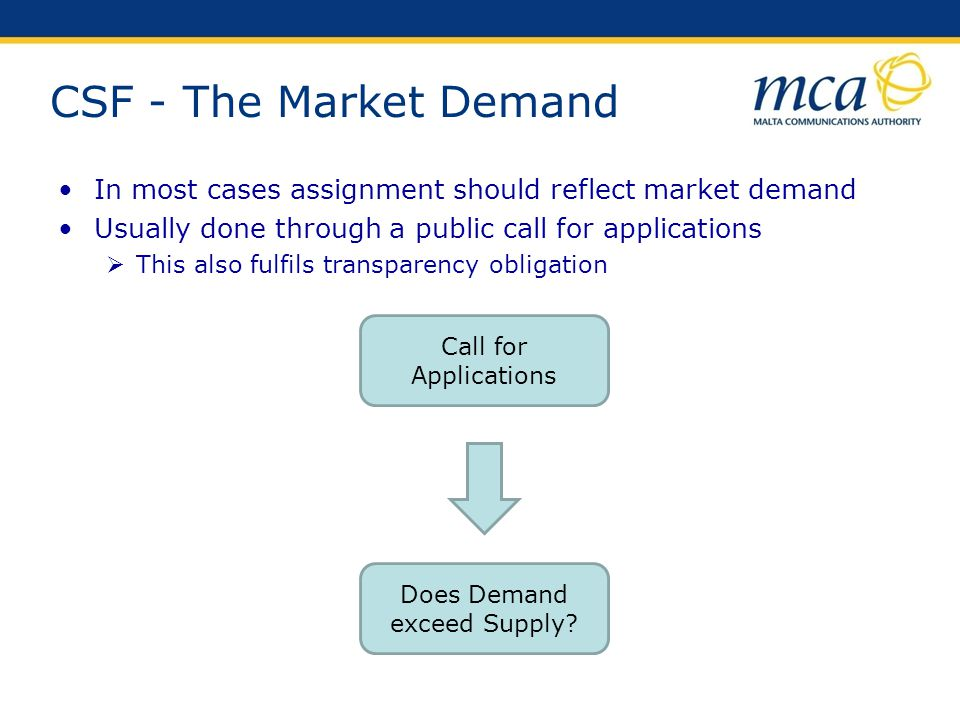 CSF - The Market Demand In most cases assignment should reflect market demand Usually done through a public call for applications This also fulfils tr