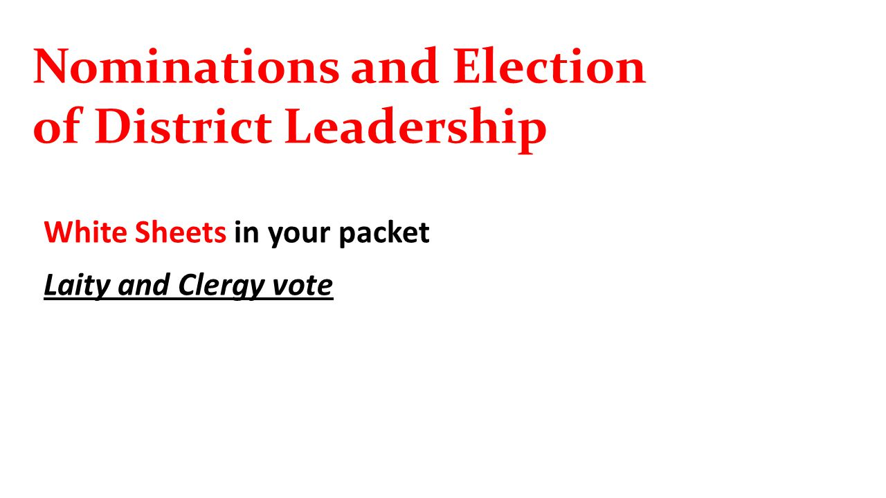 Nominations and Election of District Leadership White Sheets in your packet Laity and Clergy vote