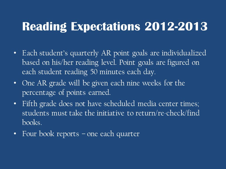 Each students quarterly AR point goals are individualized based on his/her reading level. Point goals are figured on each student reading 50 minutes e