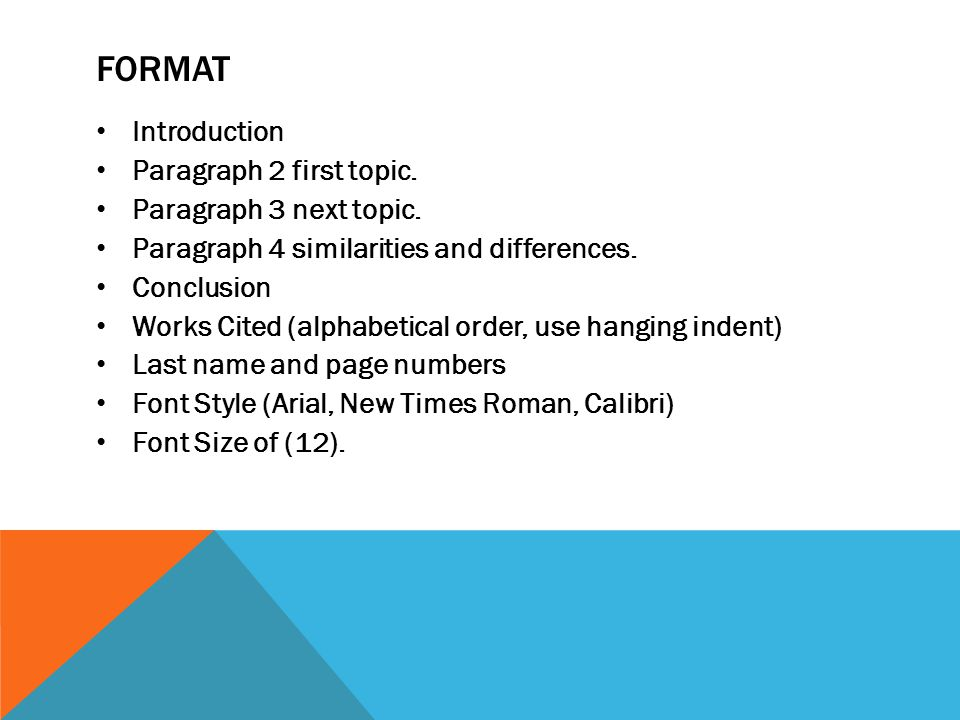 FORMAT Introduction Paragraph 2 first topic. Paragraph 3 next topic. Paragraph 4 similarities and differences. Conclusion Works Cited (alphabetical or