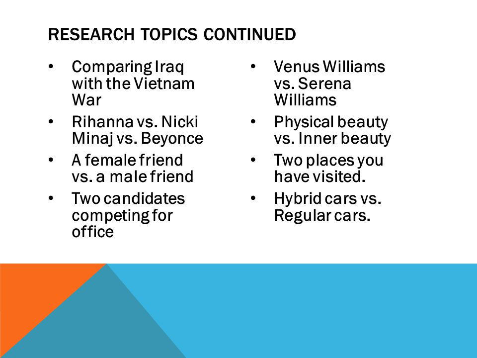 Comparing Iraq with the Vietnam War Rihanna vs. Nicki Minaj vs. Beyonce A female friend vs. a male friend Two candidates competing for office Venus Wi