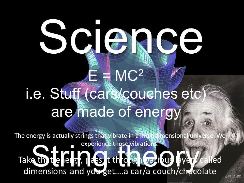 Science String theory E = MC 2 i.e.