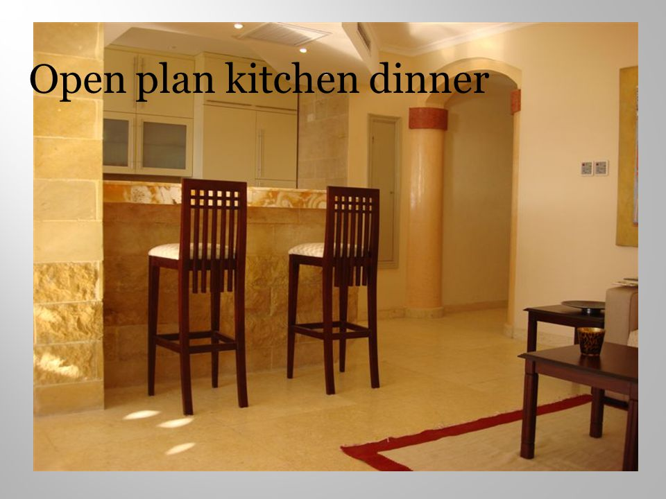 Open plan kitchen dinner