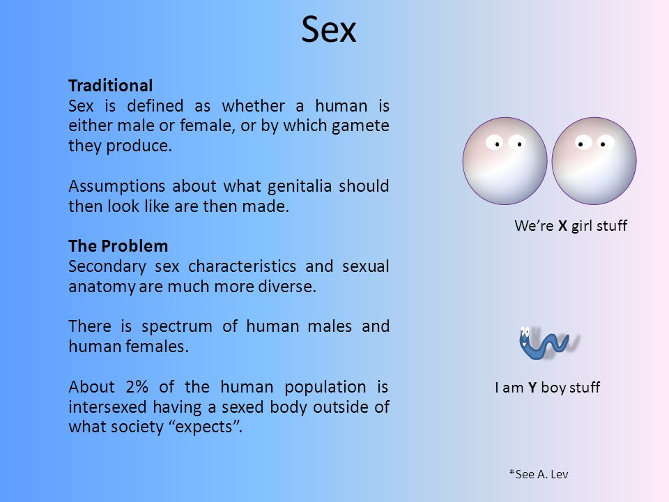Sex Traditional Sex is defined as whether a human is either male or female, or by which gamete they produce.
