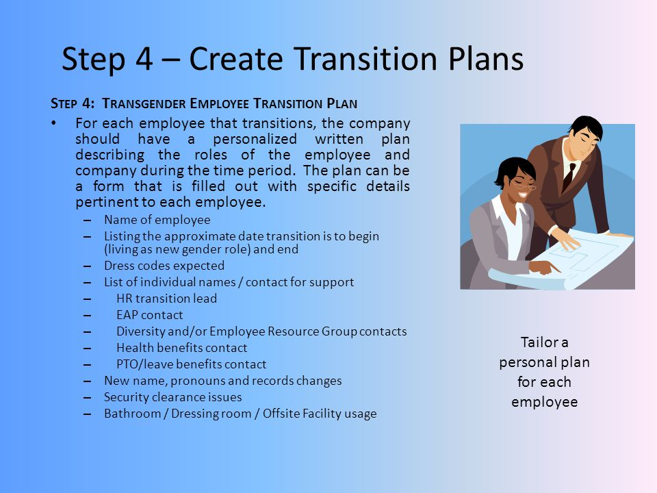 Step 4 – Create Transition Plans S TEP 4: T RANSGENDER E MPLOYEE T RANSITION P LAN For each employee that transitions, the company should have a personalized written plan describing the roles of the employee and company during the time period.