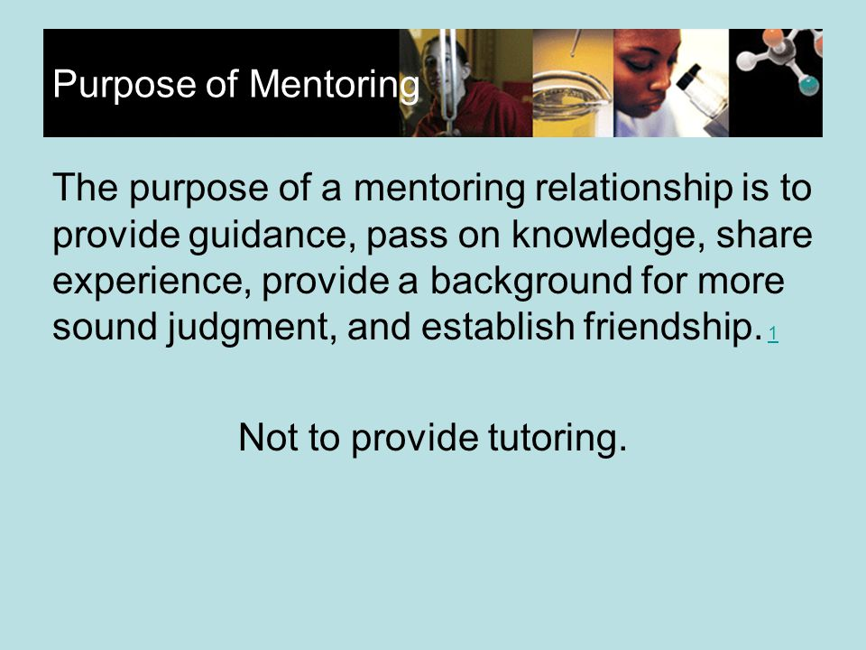Purpose of Mentoring The purpose of a mentoring relationship is to provide guidance, pass on knowledge, share experience, provide a background for more sound judgment, and establish friendship.