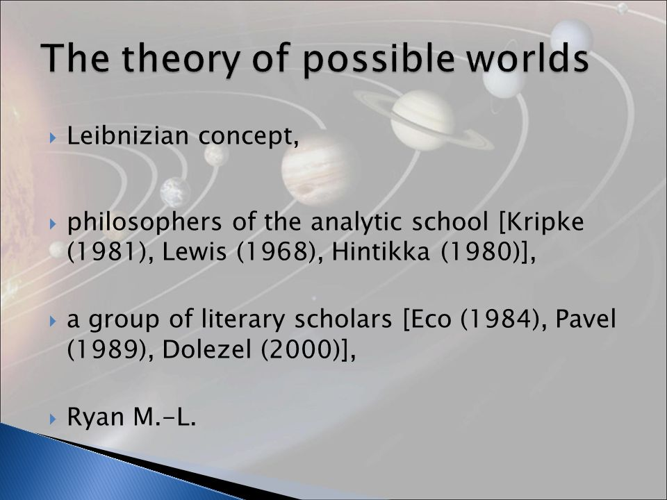 Leibnizian concept, philosophers of the analytic school [Kripke (1981), Lewis (1968), Hintikka (1980)], a group of literary scholars [Eco (1984), Pavel (1989), Dolezel (2000)], Ryan M.-L.