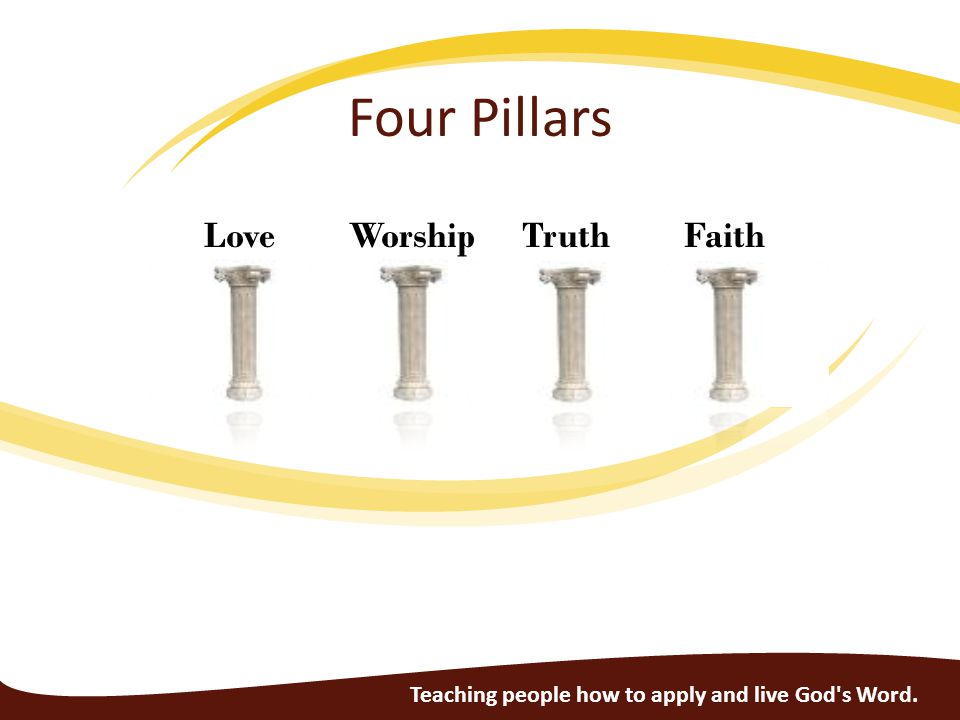 Love Worship Truth Faith Four Pillars Teaching people how to apply and live God s Word.