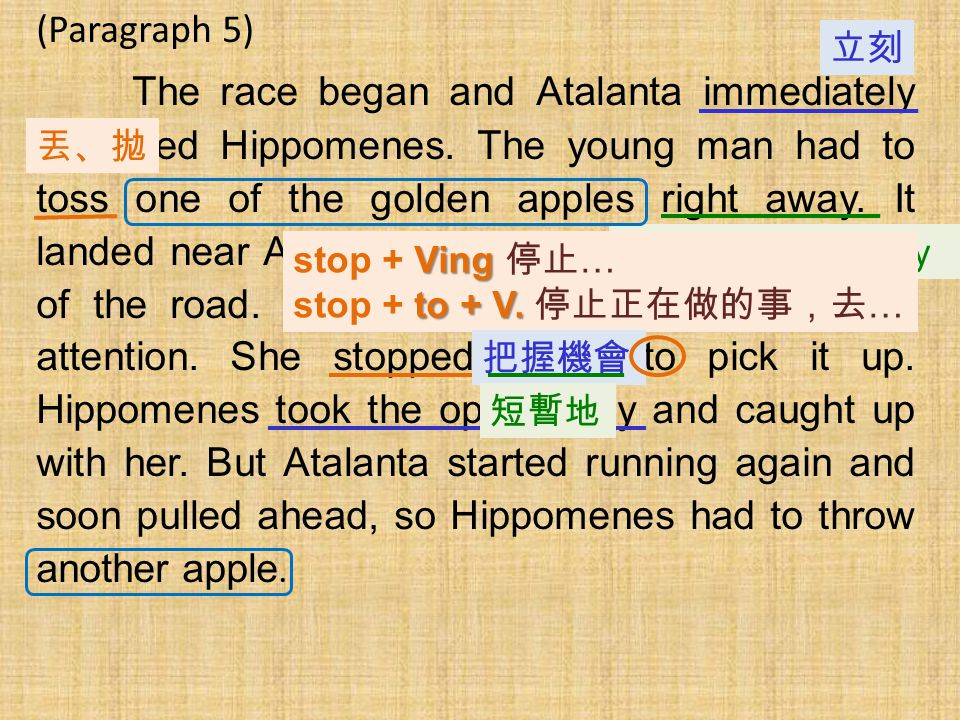 (Paragraph 5) The race began and Atalanta immediately outpaced Hippomenes. The young man had to toss one of the golden apples right away. It landed ne