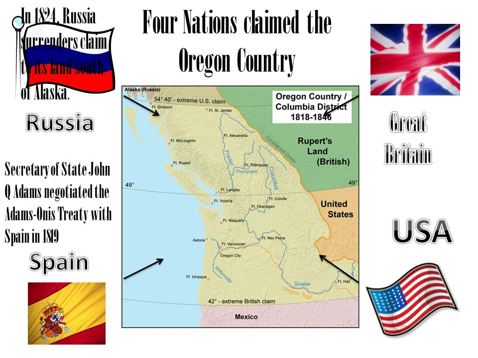 Four Nations claimed the Oregon Country In 1824, Russia surrenders claim to its land south of Alaska.