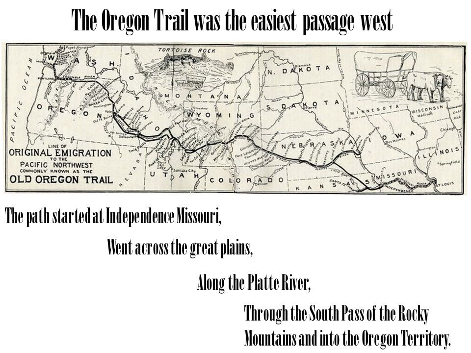 The path started at Independence Missouri, Went across the great plains, Along the Platte River, Through the South Pass of the Rocky Mountains and into the Oregon Territory.