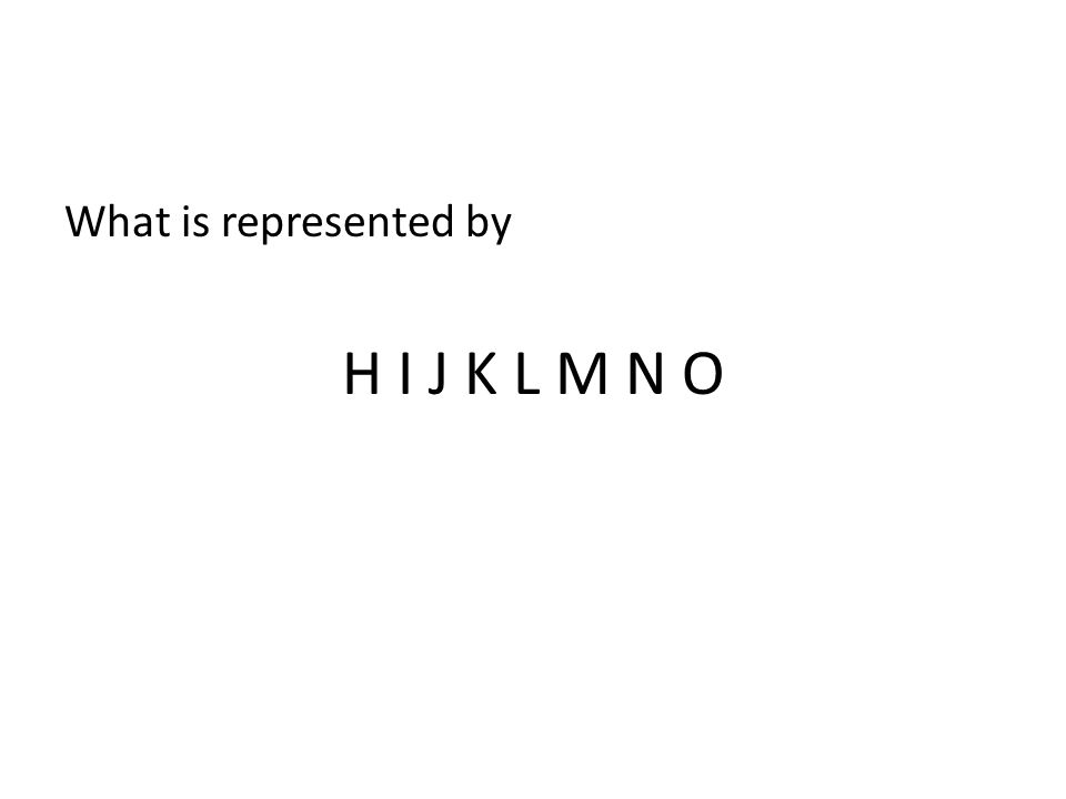 What is represented by H I J K L M N O