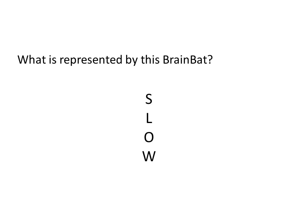 What is represented by this BrainBat? S L O W