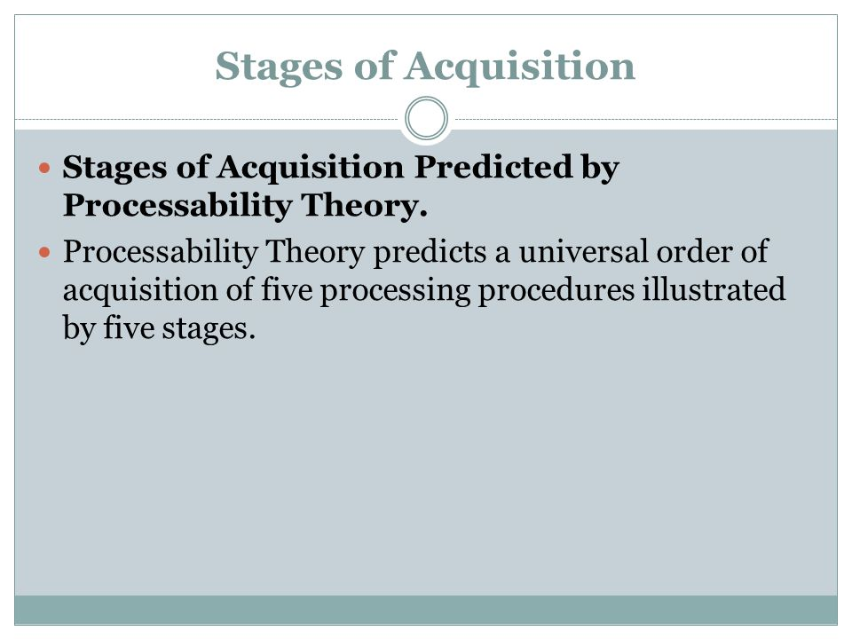 Stages of Acquisition Predicted by Processability Theory.
