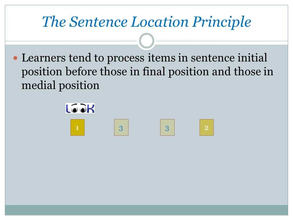Learners tend to process items in sentence initial position before those in final position and those in medial position The Sentence Location Principle 1332