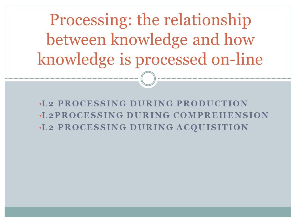 L2 PROCESSING DURING PRODUCTION L2PROCESSING DURING COMPREHENSION L2 PROCESSING DURING ACQUISITION Processing: the relationship between knowledge and how knowledge is processed on-line