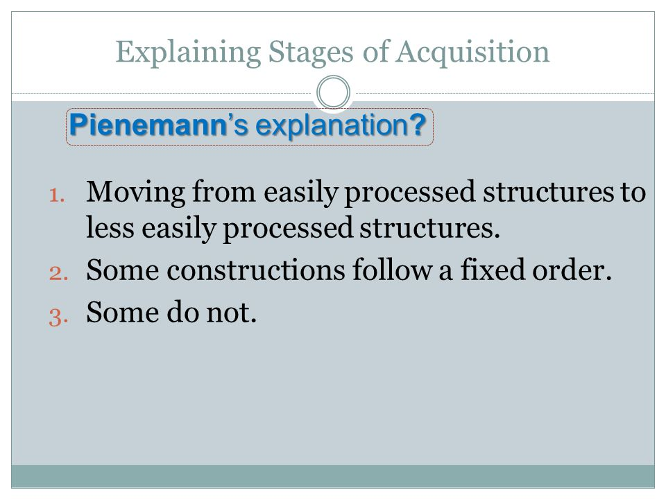1.Moving from easily processed structures to less easily processed structures.