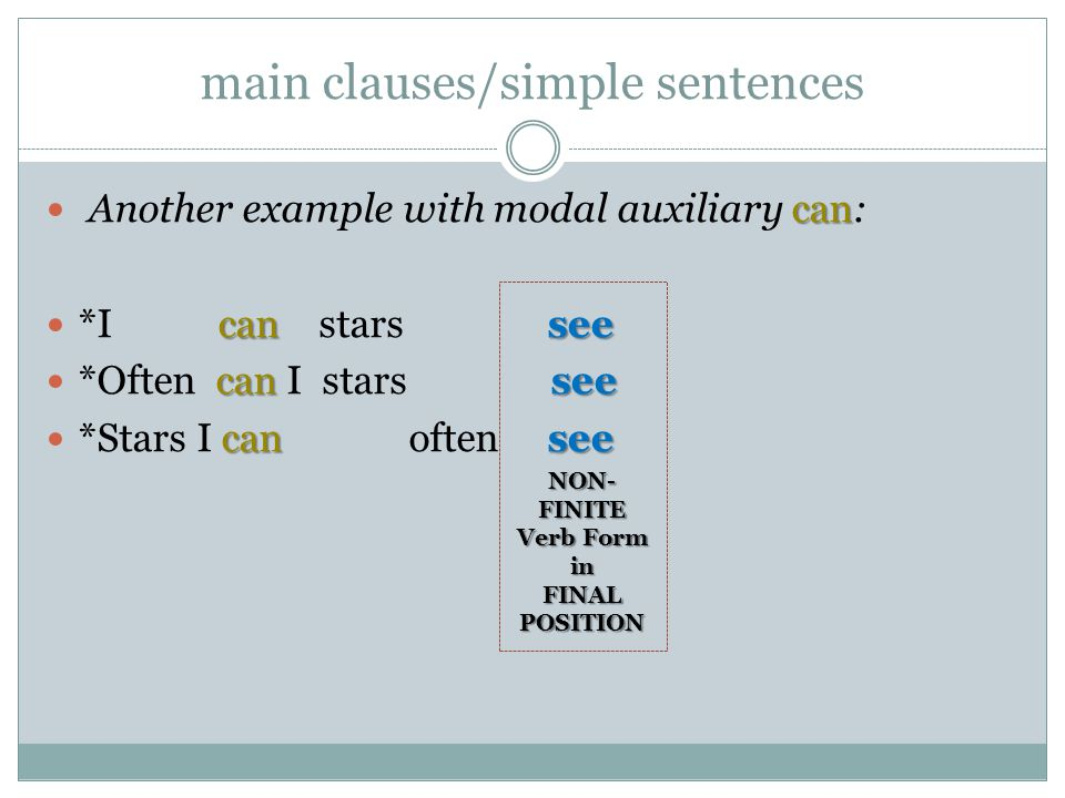 can Another example with modal auxiliary can: cansee *I can stars see cansee *Often can I stars see cansee *Stars I can often see main clauses/simple sentences NON- FINITE Verb Form in FINAL POSITION