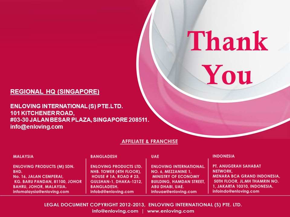 Thank You REGIONAL HQ (SINGAPORE) ENLOVING INTERNATIONAL (S) PTE.LTD.