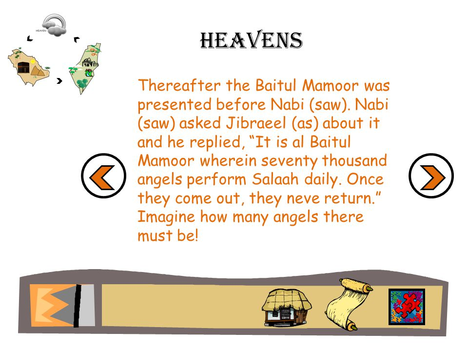 Heavens Thereafter the Baitul Mamoor was presented before Nabi (saw).