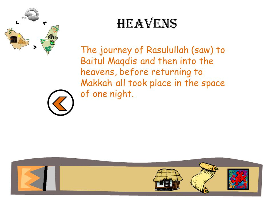 Heavens The journey of Rasulullah (saw) to Baitul Maqdis and then into the heavens, before returning to Makkah all took place in the space of one night.