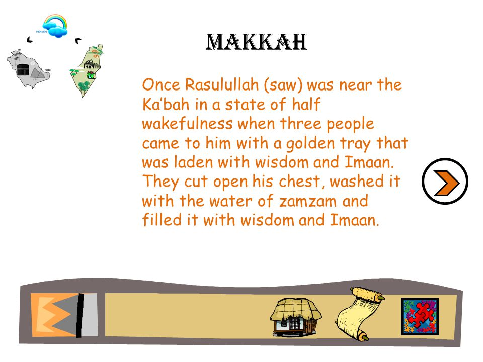 Once Rasulullah (saw) was near the Kabah in a state of half wakefulness when three people came to him with a golden tray that was laden with wisdom and Imaan.