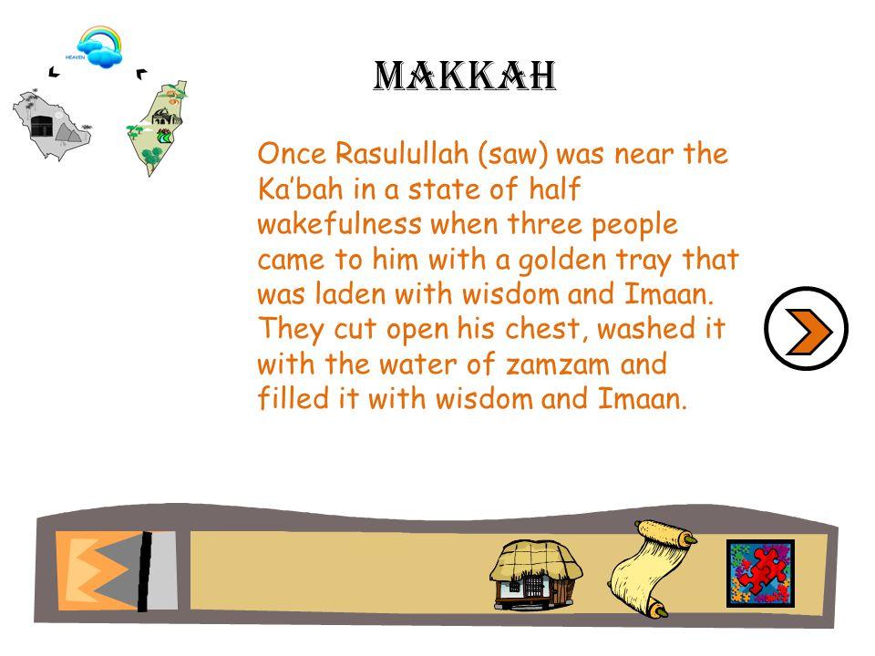 Then the Buraaq was brought before Rasulullah (saw).