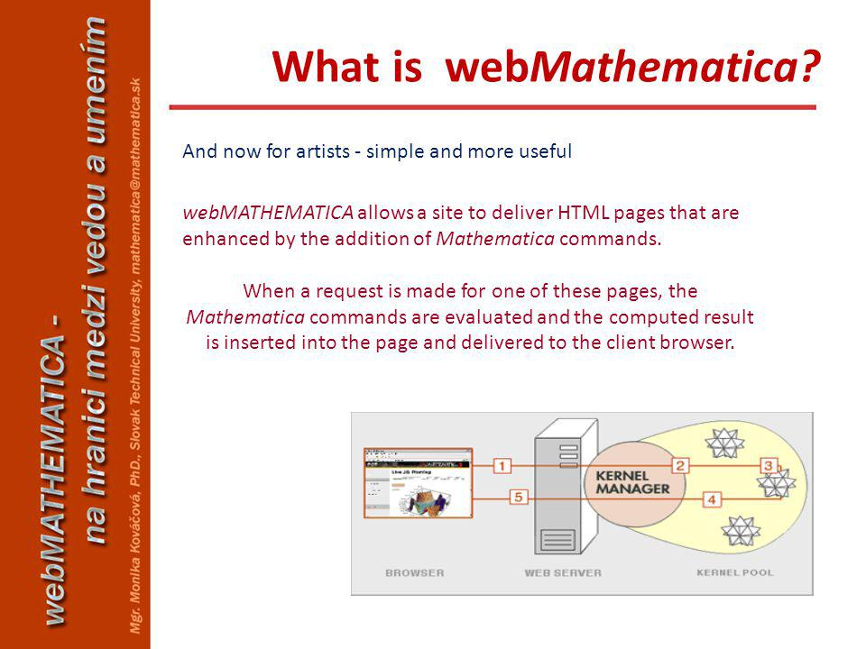 And now for artists - simple and more useful webMATHEMATICA allows a site to deliver HTML pages that are enhanced by the addition of Mathematica comma