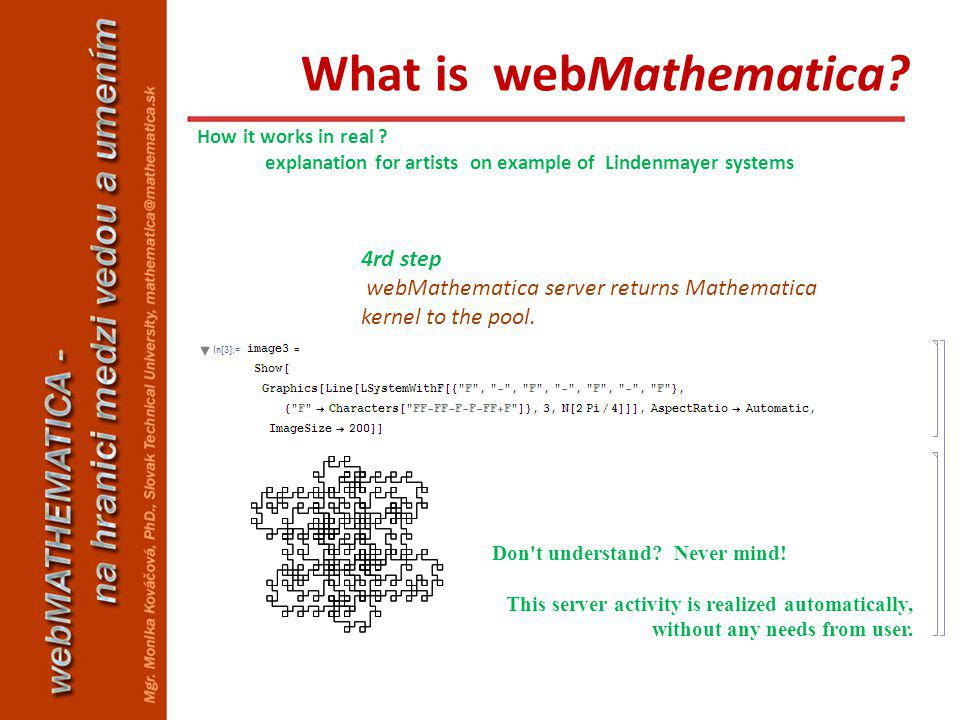 4rd step webMathematica server returns Mathematica kernel to the pool. Don't understand? Never mind! This server activity is realized automatically, w