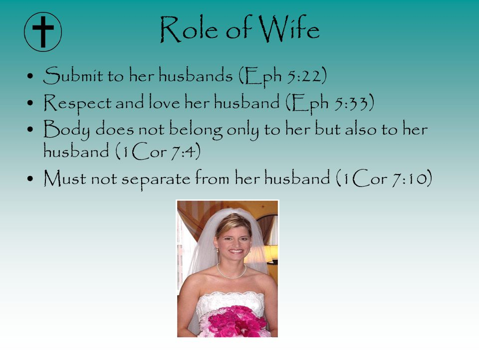 Role of Wife Submit to her husbands (Eph 5:22) Respect and love her husband (Eph 5:33) Body does not belong only to her but also to her husband (1Cor 7:4) Must not separate from her husband (1Cor 7:10)