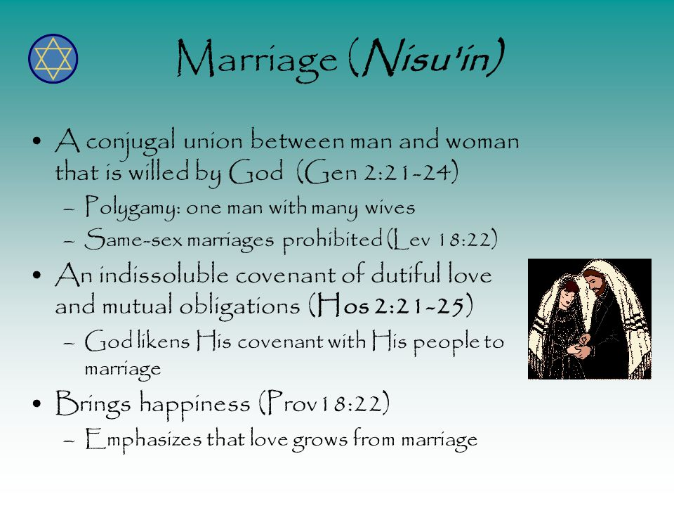 Marriage (Nisu in) A conjugal union between man and woman that is willed by God (Gen 2:21-24) –Polygamy: one man with many wives –Same-sex marriages prohibited (Lev 18:22) An indissoluble covenant of dutiful love and mutual obligations (Hos 2:21-25) –God likens His covenant with His people to marriage Brings happiness (Prov18:22) –Emphasizes that love grows from marriage