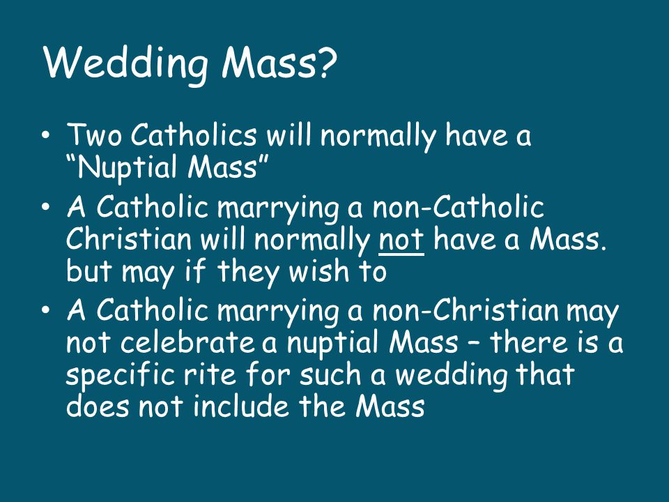Traditional Catholic Both and bride and the groom will repeat this vow: I (name) take you (name) to be my (husband/wife.) I promise to be true to you in good times and in bad, in sickness and in health.