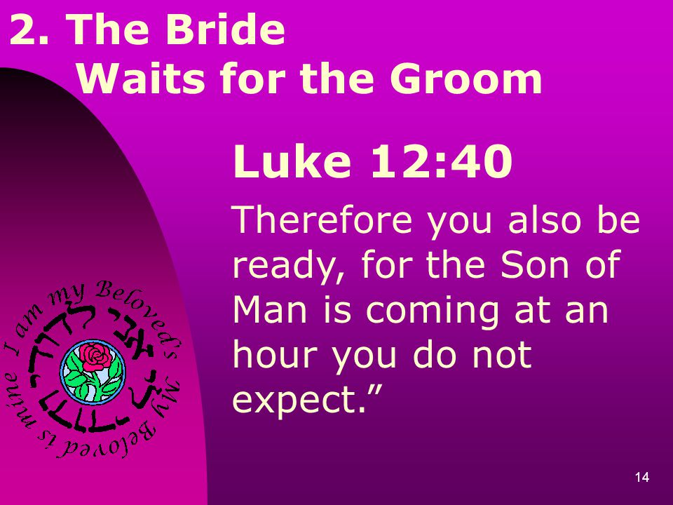 14 2. The Bride Waits for the Groom Luke 12:40 Therefore you also be ready, for the Son of Man is coming at an hour you do not expect.