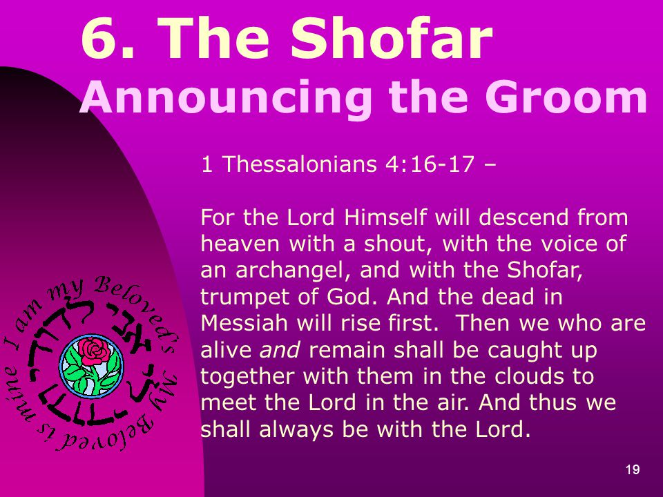 19 6. The Shofar Announcing the Groom 1 Thessalonians 4:16-17 – For the Lord Himself will descend from heaven with a shout, with the voice of an archa