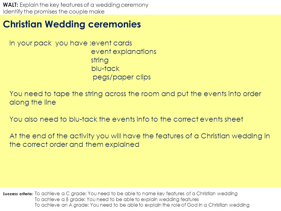 WALT: Explain the key features of a wedding ceremony Identify the promises the couple make Christian Wedding ceremonies Success criteria: To achieve a